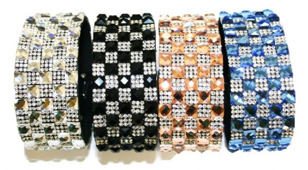 Diamante bling crystal cuff bracelet kits -- mixed colour 6mm faceted square glass + diamante stone